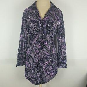 LRL Womens Large Purple Paisley Button Up Shirt
